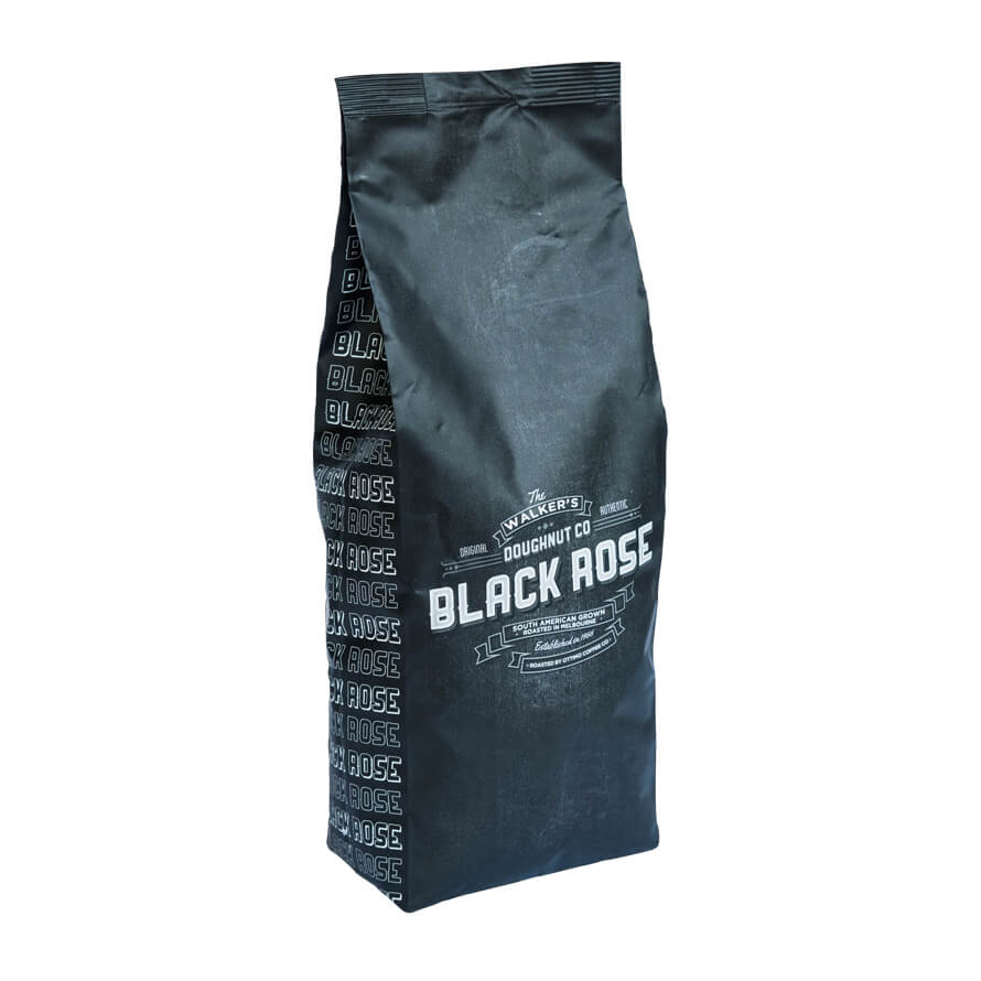 photo of walkers doughnuts black rose coffee 250g
